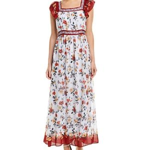 Max Studio Floral Flutter-Sleeve Maxi Dress